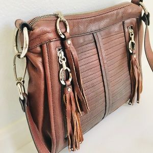 B. MAKOWSKY Cornflower Boho Leather Crossbody Bag